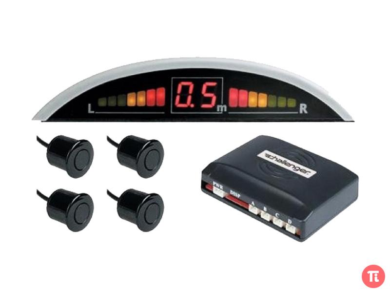 Парктроник, 4 датчика черного цвета, светодиодный дисплей с указанием расстояния, сверло-фреза. . Новый